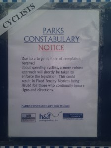 Furnival gardens park constabulary notice to cyclists